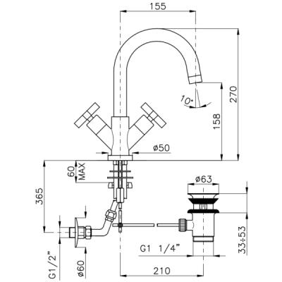 Nicolazzi Monte Croce смеситель для раковины на изделие 2236CR27