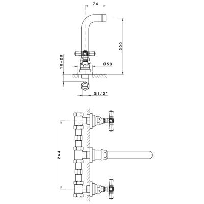 Nicolazzi Agora Смеситель для раковины на 3 отверстия настенный 2307CR45IN