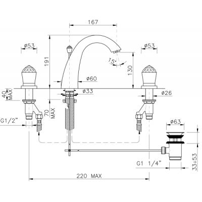 Nicolazzi Cristallol Смеситель для раковины на 3 отверстия 2009CR22