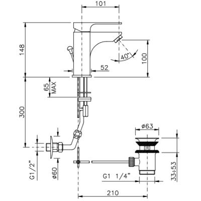 Nicolazzi Jungfrau 05 Смеситель для раковины на изделие 3102CR64