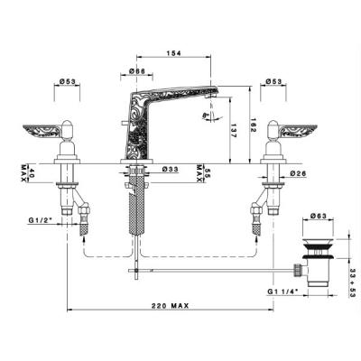 Nicolazzi liberty Смеситель для раковины на 3 отверстия 1008CR16