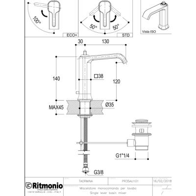 Ritmonio Taormina смеситель для раковины на изделие PR35AU101+PR35MA001