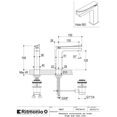 Ritmonio Tweet-colors смеситель для раковины на изделие PR27AU101+PR27MA101