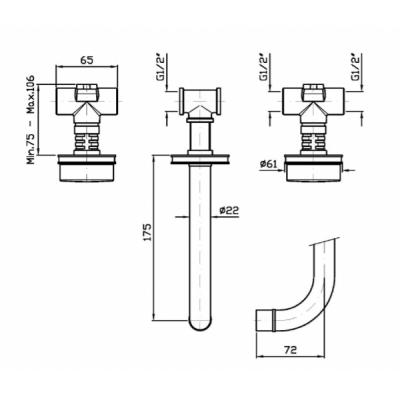 Zucchetti Savoir смеситель для раковины настенный ZSV671.CN+R99504