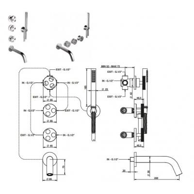Bongio Bowling Смеситель для ванны настенный 38530/D