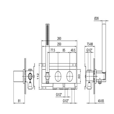 Fantini Milano Смеситель для душа настенный с ручным гарнитуром  E584B+22 00 D184A отделка хром