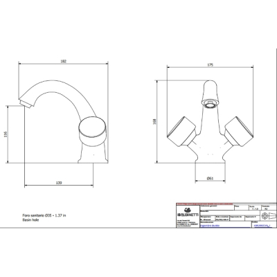 IB Rubinetterie Birkin смеситель для раковины на изделие BR205_1
