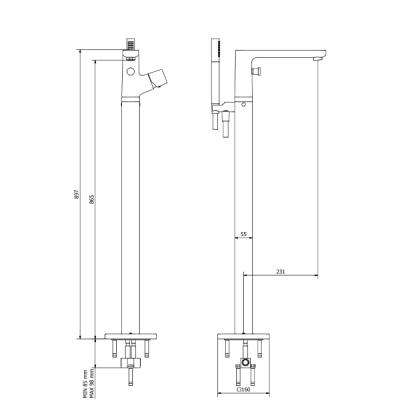 IB Rubinetterie Taaac Смеситель для ванны  высокий напольный AA399