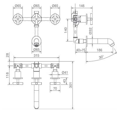 LaTorre Crosstech Смеситель для ванны настенный 12743