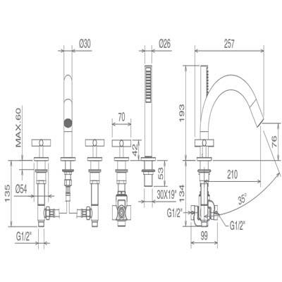 LaTorre Crosstech Смеситель для ванны на борт 12848
