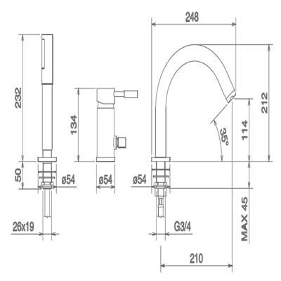 LaTorre Newtech Смеситель для ванны на борт 12045EX CR