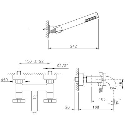 Nicolazzi Mac Kinley 05 Смеситель для ванны настенный 2202CR29