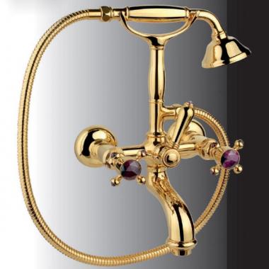Nicolazzi Le Pietre смеситель для ванны с душем настенный 2101GB09 цвет золото