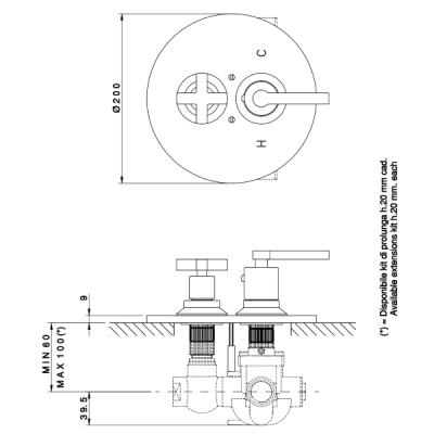 Nicolazzi Thermostatico смеситель для душа настенный 4909CR09C+4910