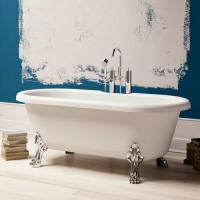 BluBlue Newport ванна белая матовая из искусственного камня на хромированных лапах  175х80 см.
