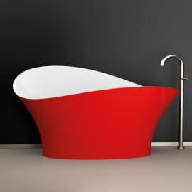 Glass Design Flower Style акриловая ванна 175x78 см. отделка Ferrari red /white gloss