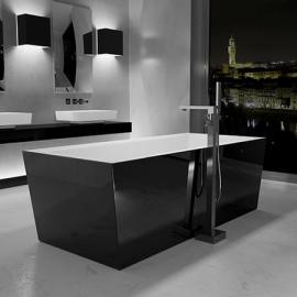 Glass Design Mont Blanc акриловая ванна отдельностоящая 180x80 см. отделка black gloss / white gloss