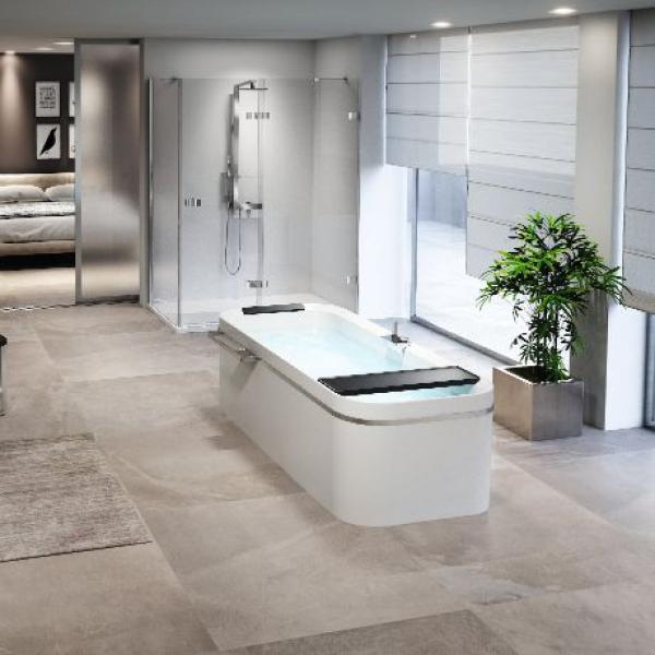 Novellini Divina F акриловая ванна отдельностоящая 180х80 см. с панелью, сифоном и подголовником без смесителя