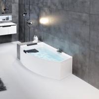 Novellini Divina О акриловая ванна правая 165x98 см. на раме с сифоном и подголовником, без панели.