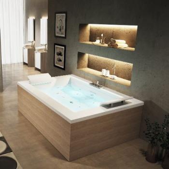 Novellini Sensedual акриловая ванна гидромассажная отдельностоящая 193х140 см смеситель, сифон, подголовник и дезинфекция в комплекте, без панелей