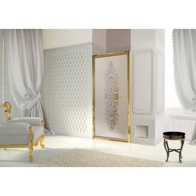 2B box Luxury Design 51D душевая дверь в нишу ширина 90 см. стекло сатинированное с декором, профиль золото