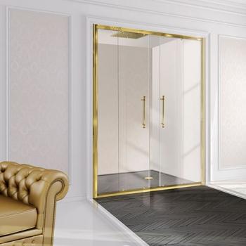 2B box Luxury Design 52E душевая дверь в нишу ширина 140 см. стекло прозрачное, профиль золото