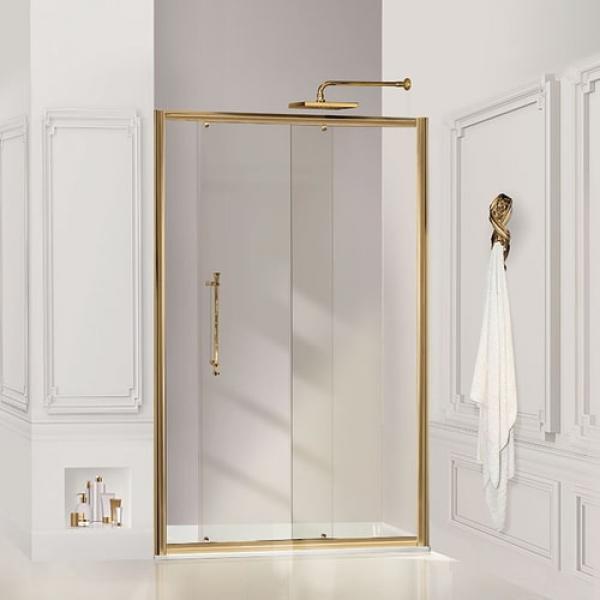 2B box Luxury Design 52A душевая дверь в нишу ширина 100 см. стекло прозрачное, профиль золото