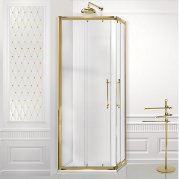 2B box Luxury Design 54E душевая кабина угловая 90*90 см. стекло прозрачное, профиль золото
