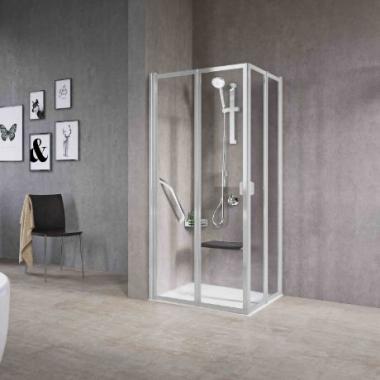 Novellini Free 2A душевая кабина 85,5↔88,5*85,5↔88,5 см. стекло прозрачное, профиль хром.