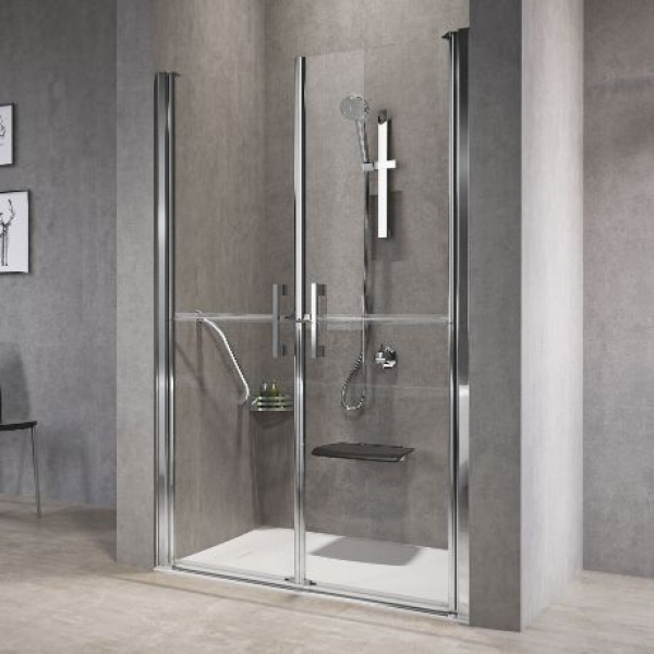 Novellini Free 1 2B душевая дверь в нишу  88.5-94.5 см, стекло прозрачное, профиль хром.
