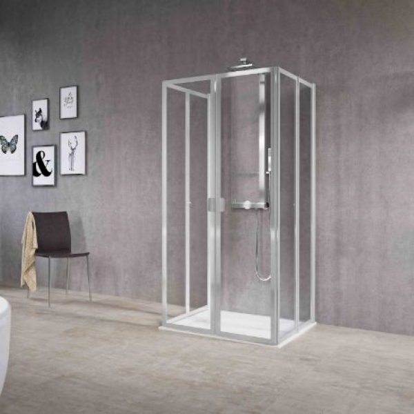 Novellini Free 2U душевая кабина пристенная  85↔88*85↔88 см стекло прозрачное, профиль silver