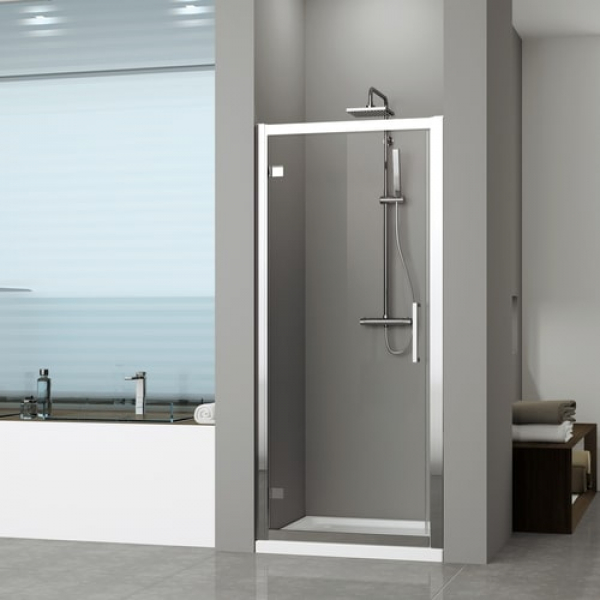 Novellini Kuadra G душевая дверь в нишу 84↔90 см стекло прозрачное, профиль хром