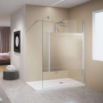 Novellini Kuadra H душевая стенка 97↔100 см, стекло прозрачное, профиль хром.