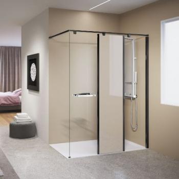 Novellini Kuadra H11 душевая стенка длина 120 см. стекло прозрачное, профиль черный.
