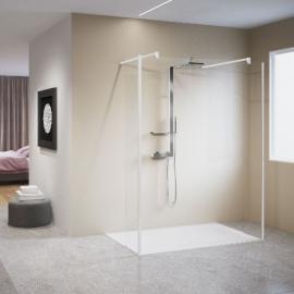 Novellini Kuadra H5 душевая стенка длина 134 см. стекло прозрачное, профиль белый