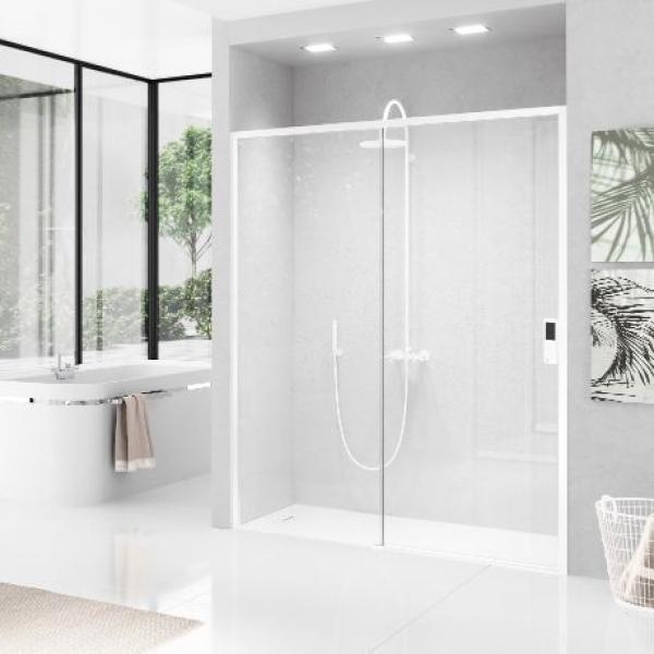 Novellini Opera 2PH душевая дверь в нишу правая  140-143 см. стекло прозрачное, профиль белый