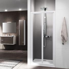 Novellini Riviera 2.0 S душевая дверь в нишу ширина 80 см. стекло прозрачное, профиль белый