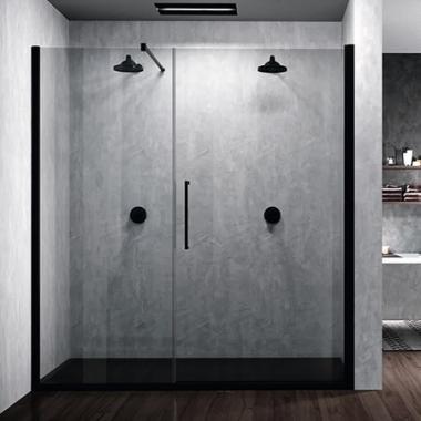 Novellini Young G+F душевая дверь в нишу ширина 120 см. стекло прозрачное, профиль черный матовый