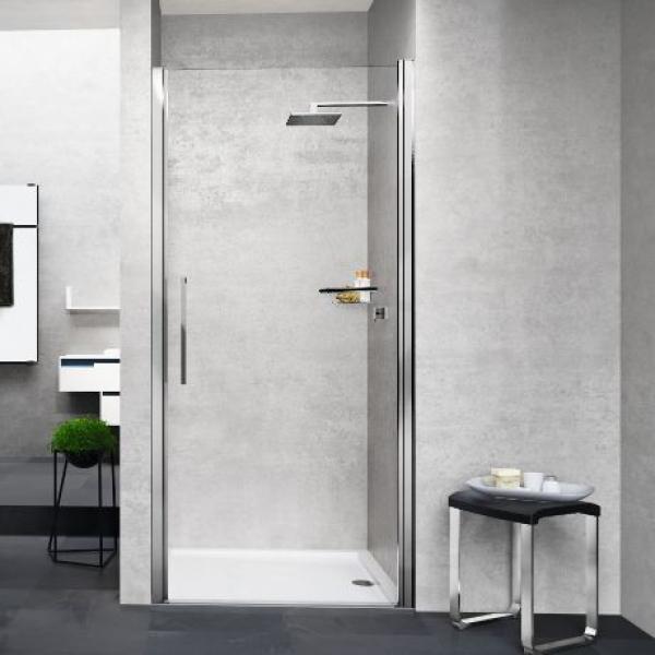 Novellini Young 1B душевая дверь в нишу ширина 90 см. стекло прозрачное, профиль хром
