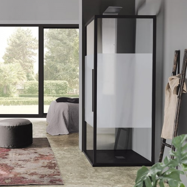 Samo Acrux B8805+B8826 душевая кабина угловая длина 90-90 см. стекло прозрачное рисунок шелкография полоса H.100 cm. профиль черный матовый