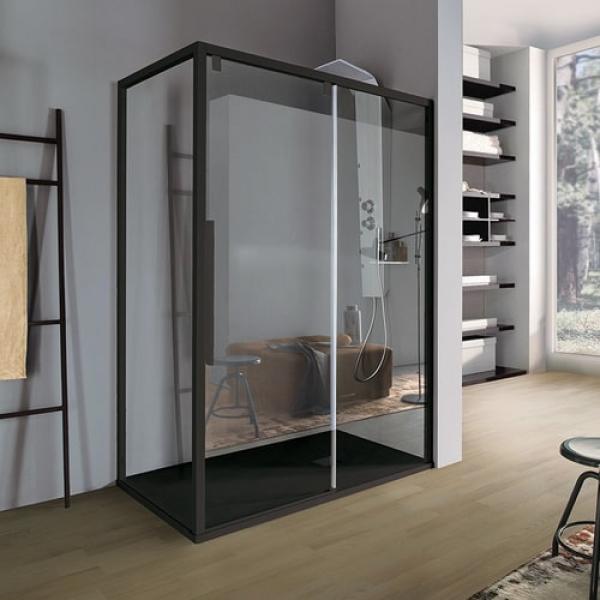 Samo Acrux B8814+B8827 душевая кабина угловая 120-100 см. стекло прозрачное, профиль черный матовый