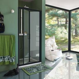 Samo Cee Art B0910 душевая дверь в нишу 90 см. стекло прозрачное, профиль черный матовый