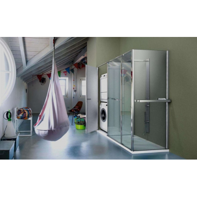 Vismara Vetro Twin душевая кабина угловая 180*80 см.стекло прозрачное, профиль хром