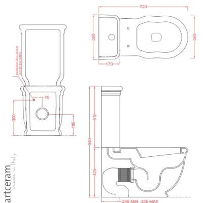 ArtCeram Hermitage унитаз напольный белый HEV006+HEC009+ACA006 71+HEA005 01