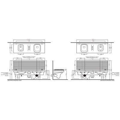 Hatria G-full унитаз совмещенный с биде подвесной белый YXJR01+YXH601+YXH901