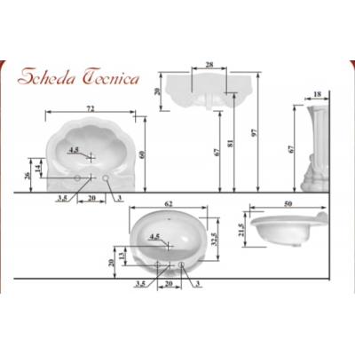 Раковина с колонной Ceramica Ala -  Imperial Dec1012