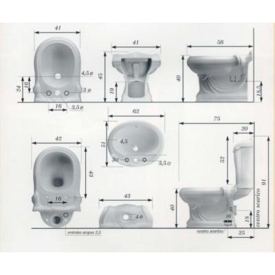 Биде напольное цветное Ceramica Ala - Queen Dec503A