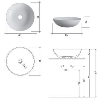 Nic Design Ciotole раковина накладная белая 001 483