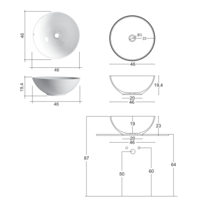 Nic Design Flavia раковина накладная белая 001 001