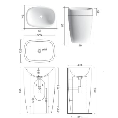 Nic Design Milk раковина напольная цветная 001 290